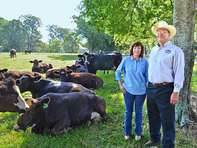 Jimmy and Kathleen Holliman raise Simmental-Angus beef in Dallas County, Alabama. A fifth-generation cattleman, Jimmy says any producer today is likely already a good steward of the land. (DTN/Progressive Farmer photo by Victoria G. Myers)