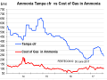 This chart compares the cost and freight price of ammonia at Tampa to the cost of gas in ammonia. (Graphic by Karl Stenerson)