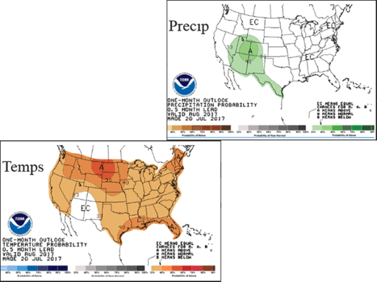 """NOAA forecast maps for August feature generally above normal temperatures and only climatological """"equal chances"""" on precipitation for the major U.S. crop areas. (NOAA graphic by Nick Scalise)"""