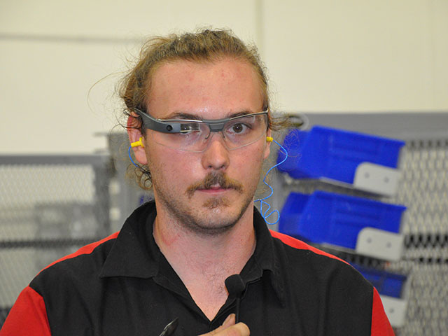 Employees at AGCO's Jackson, Minnesota, assembly plant use Google Glass to make operations run more efficiently. (DTN photo by Russ Quinn)