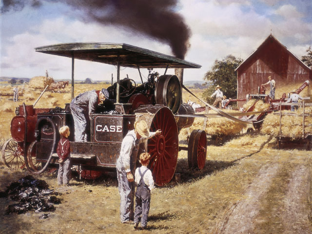 J.I. Case and Company built its first steam engine tractor in 1869. It was pulled by horses and only used steam power to run other machinery. (Image courtesy of Case IH)