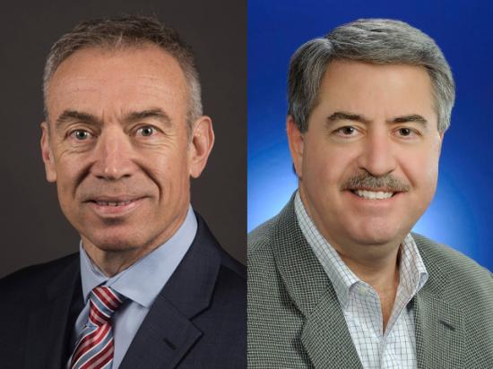 Steve Censky, left, CEO of the American Soybean Association, has been nominated as USDA deputy secretary. Ted McKinney, Indiana's agriculture secretary, is the nominee for undersecretary for trade. (DTN file photos)