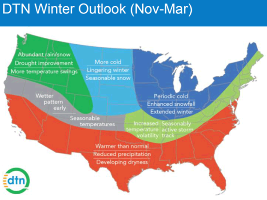 The DTN winter 2017-18 winter outlook has a cold pattern extending farther south than the official NOAA forecast. (DTN graphic by Nick Scalise)