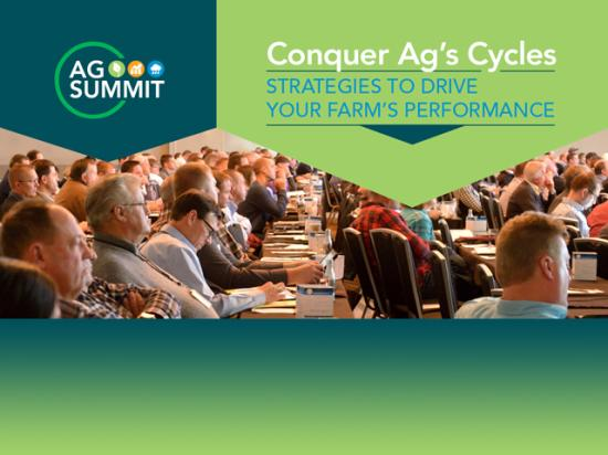 "The theme for this 11th annual Ag Summit is ""Conquer Ag's Cycles: Strategies to Drive Your Farm's Performance."" (DTN graphic)"