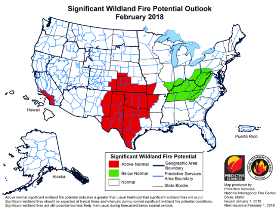 The Central and Southern Plains have significant wildland fire potential, but unfortunately, dry conditions are forecast to continue for the next few months. (Map courtesy of National Interagency Coordination Center)