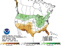 The three-month outlook of spring precipitation shows it is not favorable for the Southern Plains. (Graphic courtesy of NOAA)