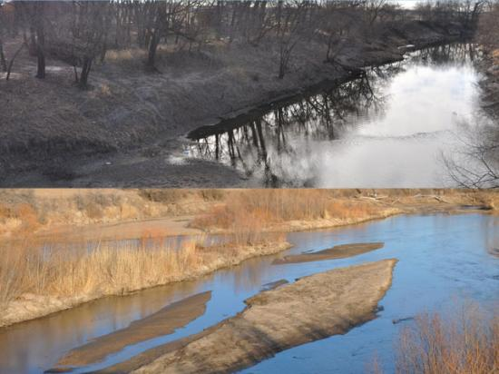 The top and bottom photos are both snapshots of the Little Arkansas River watershed between Sedgewick, Kansas and Wichita, where a pair of programs have been used to reduce atrazine and sediment flows during times of heavy rain. (DTN photos by Chris Clayton)