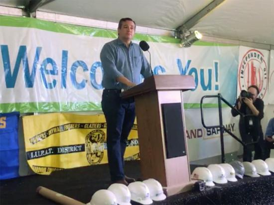 Sen. Ted Cruz, R-Texas, held a rally Wednesday at the now-bankrupt Philadelphia Energy Solutions refinery on the East Coast. (Photo from Facebook Live video)