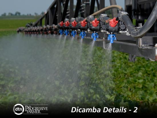 Nozzle selection and boom height are critical to limiting the amount of physical drift experienced with new dicamba formulations. (Photo courtesy of TeeJet)