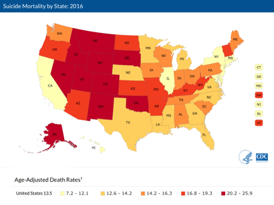 This map shows the number of suicide-related deaths per 100,000 total population by state in 2016. (Graphic courtesy of the CDC/National Center for Health Statistics)
