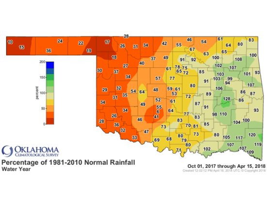 Dry conditions across the western half of Oklahoma, along with high winds and low humidity, have combined to make the region ripe for wildfires. Woodward County in northwest Oklahoma has had only 18% of normal rainfall from Oct. 1, 2017, through April 15, 2018. (Graphic courtesy of the Oklahoma Climatological Survey/Oklahoma Mesonet)