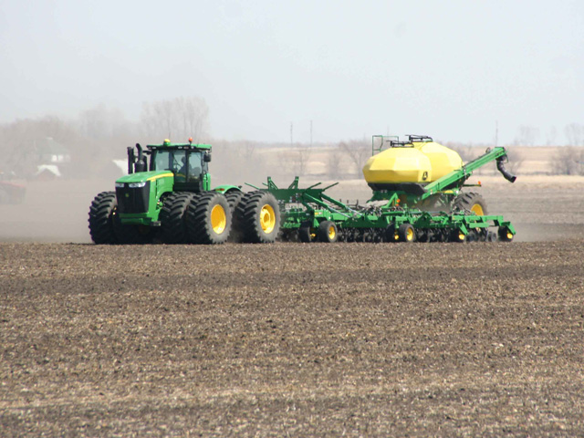 Spring field operations are finally underway in northwestern Minnesota after late snowfall and cold caused delays in spring planting. (Photo by Marlene Dufault, MLD Communications, Crookston, Minn.)