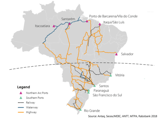 The share of corn and soybean exports from Brazil's northern ports grew from 15% in 2010 to 27% in 2017, and a Rabobank analyst says there's plenty of room to expand. (Map courtesy of Rabobank)