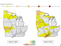 A look at Midwest Drought Monitor presentations for late May in 2018 and 2012 shows a more favorable overall situation now than six years ago. (NOAA graphic)