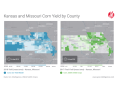 The effects of drought in Kansas and Missouri are clear, with darker areas displaying higher yields and lighter areas reflecting lower yields this season. See an interactive map here: https://app.gro-intelligence.com/#/displays/26338 (Map courtesy of Gro Intelligence)
