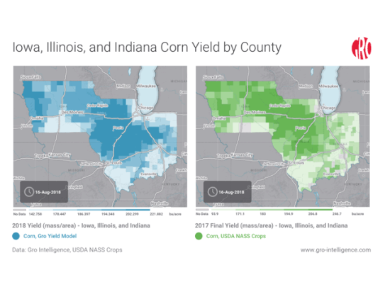This year, farmers in Iowa, Illinois and Indiana have battled a mixed bag of weather conditions with some drought continuing to linger in a few hot spots. You can find an interactive version of this map here: https://app.gro-intelligence.com/#/displays/26364 (Map Courtesy of Gro Intelligence)