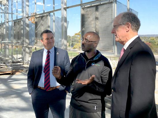 U.S. Rep Don Bacon, R-Neb., (left) hosted House Agriculture Committee Chairman Michael Conaway, R-Texas, (right) on Monday. They toured Whispering Roots, an urban agriculture nonprofit working to grow vegetables and raise fish in a new facility under construction near downtown Omaha. (DTN photo by Chris Clayton)