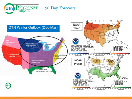 The DTN winter forecast has a cold pattern for most of the central and eastern U.S. compared with normal to above normal in the NOAA forecast. (DTN/NOAA graphic)