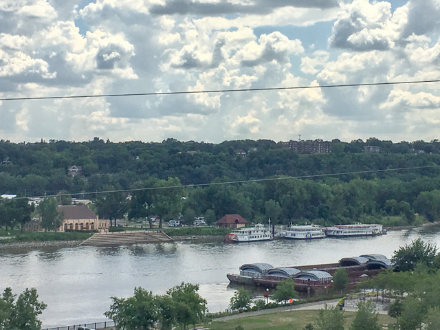 Empty barges parked alongside of the Mississippi River in downtown St. Paul, Minnesota, late summer. (DTN photo by Mary Kennedy)