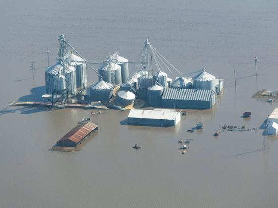 Floodwater from the overflowing Missouri River completely surrounds these grain bins in Fremont County, Iowa. (Photo by Joseph L. Murphy)