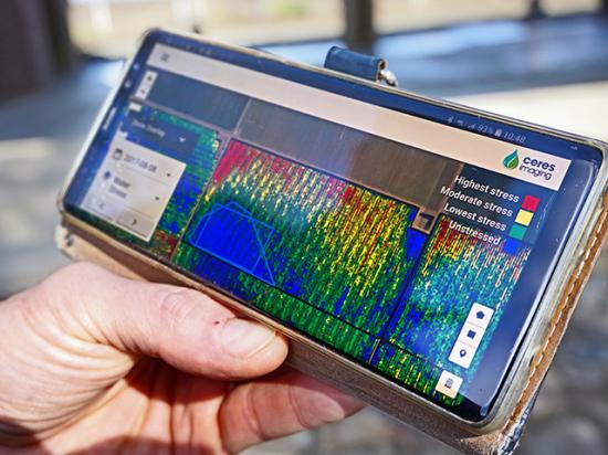 Imagery and analytics are available to farmers in the field to make better decisions. (Photo provided by Ceres Imaging)