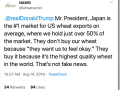 The National Association of Wheat Growers fired back at President Donald Trump on Wednesday after the president made comments at a rally that the U.S. buys cars from Japan, but Japan just buys wheat. (Image from Twitter)