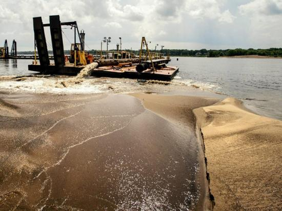 The Dredge Goetz works on the Mississippi River earlier this year. The U.S. Army Corps of Engineers Rock Island District is running out of funds to keep the Dredge Goetz running full time in order to keep river transportation safe for barge traffic. (Photo by Brian Krause, courtesy of the Mississippi Valley USACE)