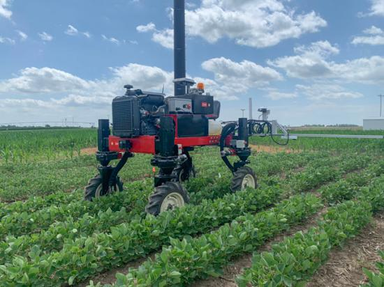 The Flex-Ro, short for Flexible Robot, made its first appearance in a one-acre test plot this spring at the University of Nebraska-Lincoln (UNL). The robot, which can be controlled remotely or can be autonomous, could aid in crop scouting and even in various field operations such as spot spraying, weeding and planting in the future. (Photo courtesy Dr. Santosh Pitla, UNL)
