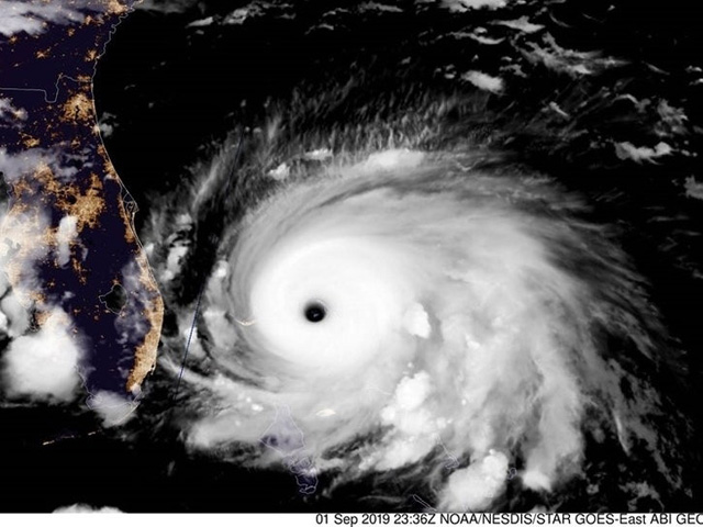 As Hurricane Dorian approached the southeast coast of the U.S., the Federal Motor Carrier Safety Administration waived the trucking hours of service rule for 10 southeastern states and two U.S. territories. Pictured is 9/1 satellite view of Hurricane Dorian. (Photo by NOAA)
