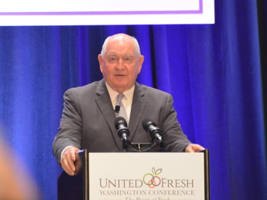 Secretary of Agriculture Sonny Perdue spoke Wednesday at the United Fresh conference in Washington. Perdue spoke mostly about trade and labor issues, and said it was encouraging that the U.S. and China were again negotiating on trade. (DTN photo by Chris Clayton)