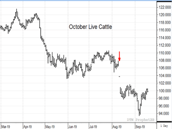 The sharp drop in cattle prices after the Tyson plant fire on Aug. 9 (red arrow) is one of three events that has agriculture feeling the pain of unfairness in 2019. (DTN ProphetX chart by Todd Hultman)