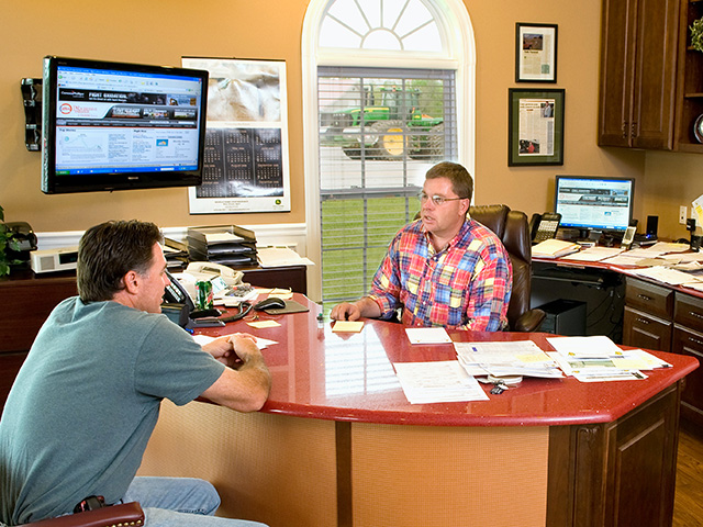 Joe (right) and Todd Nichols (DTN/Progressive Farmer photo by Rob Lagerstrom)