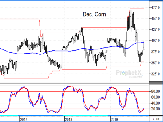 December corn fell back in Thursday's trade after USDA estimated a 13.78 billion-bushel corn crop, but the corn is not in the bin yet. (DTN ProphetX chart)