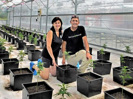Annette and Bruce Wiles are some of the first producers in Nebraska to grow hemp. They also produce hops for regional brewers. (Photo courtesy of Annette Wiles)