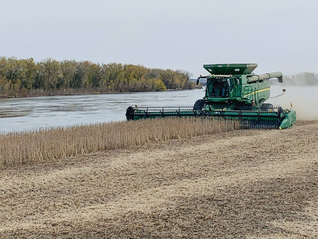 "Quentin Connealy harvests a soybean field that was under water in March when the Missouri River flooded. ""We were able to get most everything planted between April 24 and June 10,"" Connealy said. ""With a second flooding coming June 1, the river took some of our planted and non-planted ground again. The next round of flooding was the mid to end of September."" (Photo courtesy of Quentin Connealy)"