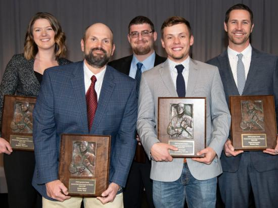 DTN/Progressive Farmer named its 10th class of America's Best Young Farmers and Ranchers on Tuesday at the DTN 2019 Ag Summit in Chicago. This year's class includes (from left to right) Zoey (Brooks) Nelson, Braden Gibson, Mike Jackson, Brett Arnusch and Russell Schiermeier. (DTN/Progressive Farmer photo by Joel Reichenberger)