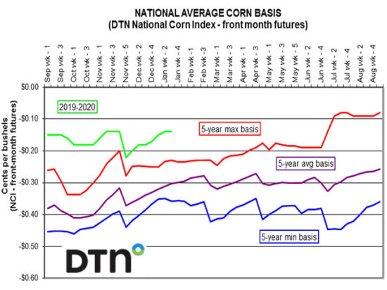 The DTN national average corn basis (an average of nearly 4,000 corn bids collected throughout the U.S.) started the new crop year 11 cents above the DTN national average maximum five-year average basis and, as of the week of Jan. 24, was 9 cents above the maximum five-year average basis. (DTN photo)