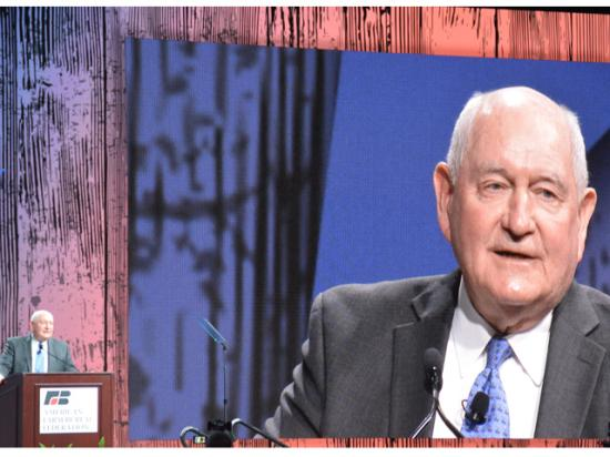 Agriculture Secretary Sonny Perdue addresses the 2020 American Farm Bureau Federation annual meeting in Austin, Texas. Perdue said a last round of MFP payments is coming soon, and he also said the Trump administration is working to reform the guest-worker provisions for agricultural labor. (DTN photo by Chris Clayton)