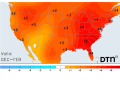 Across the country, temperatures stayed well above normal this past winter, which means some insects and diseases may thrive this coming spring and summer. (DTN map graphic)