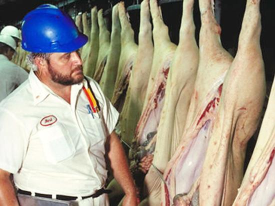 Under a new rule published by USDA's Food Safety and Inspection Service in the Federal Register on Tuesday, fewer USDA food inspectors will directly look over hog carcasses moving along pork-plant processing lines. (Photo courtesy of USDA)
