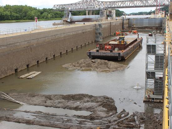 Maintenance and inspections continue at Peoria Lock and Dam near Creve Coeur, Illinois, as part of the 2020 Illinois Waterway Consolidated Lock Closures. Built around the 1930s, these lock systems have withstood the test of time and are getting much needed repairs during these closures. (Photo courtesy of USACE Rock Island District.