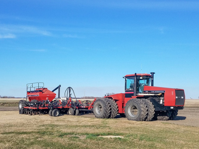 Tim Dufault of Crookston, Minnesota, has his planter all cleaned up but has nowhere to go, as fields were not yet ready for spring wheat planting as of April 29. (Photo by Tim Dufault)