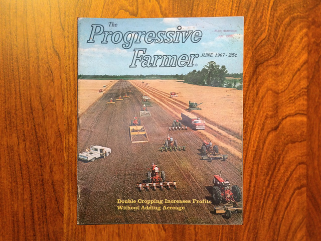 The June 1967 edition of The Progressive Farmer magazine includes a cover photo detailing how double cropping was accomplished 53 years ago. (Photo courtesy of Howard Myers)