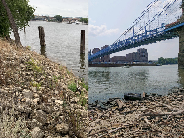 The Mississippi River in downtown St. Paul (left) and the Ohio River in downtown Cincinnati on Aug. 7 were both showing more shoreline than normal. (DTN photo on left by Mary Kennedy; photo on right by USA CPT Daniel Halvorson)