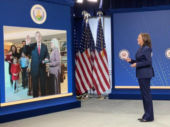 Vice President Kalama Harris presided over the swearing-in of Tom Vilsack as Agriculture secretary on Wednesday. Vilsack spoke to reporters Thursday about the department's early priorities. (White House photo)