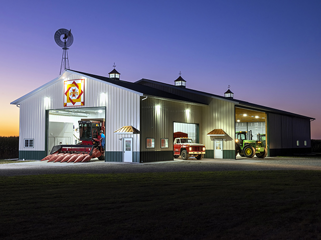 Clinton Ryan's shop was designed, with all the doors including the smaller service doors, for efficient movement of equipment and maintenance workflow. (Progressive Farmer image by Mark Tade)