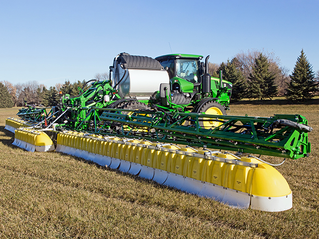A Redball SPK645 Gen II Broadcast Hood can be installed on a self-propelled sprayer to minimize herbicide drift. (Progressive Farmer image provided by Willmar Fabrication)