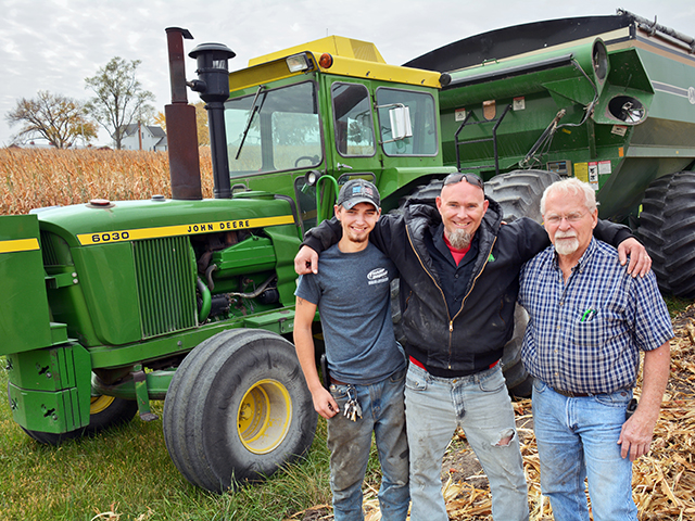 Clayton, Clint and Jim Loeb use mostly vintage John Deere tractors from the 1950s through the 1970s to farm nearly 900 acres of corn. (Progressive Farmer image by Matthew Wilde)
