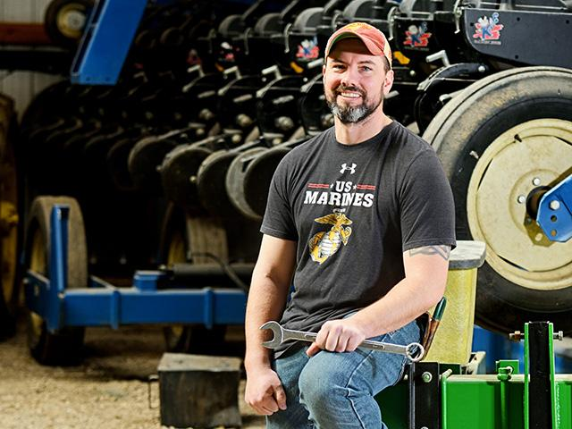 Aaron White sees similarities between farming and the military: working outdoors and making decisions. (Progressive Farmer image by Jim Patrico)