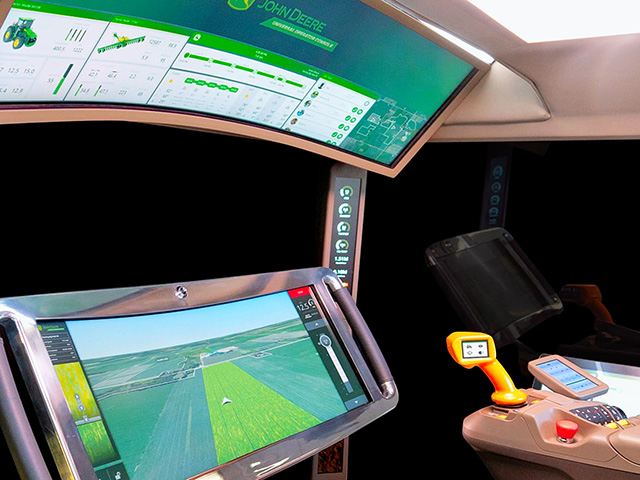 John Deere built its Command Cab concept to manage not just the tractor in the field but the whole farm. (Progressive Farmer image provided by John Deere)